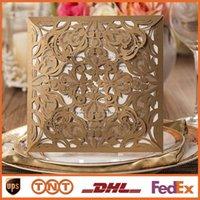 Laser Cut Wedding Invitations Gold Paper Blank Inner Sheet W...