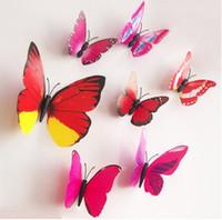 1200pcs(12pcs=1set)PVC 3D Butterfly Wall Stickers DIY Kids R...