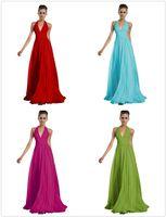Sexy Blush Холтер невесты платья Длинные пола Красный Дешевые шифон Вечерние платья голубой бирюзовый невесты платье темно-синего платья выпускного вечера