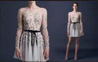 Paolo Sebastian Prom Dresses 2015 A- Line Beaded Applique Ruc...