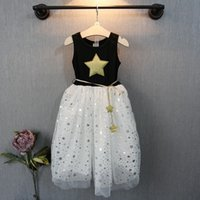 DHL Fedex Free Summer New Girl Dress Five- pointed star patte...