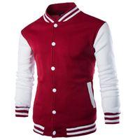 Moda 2016 Patchwork Polo Jakcets Vermelho Branco Blue Coat For Man Fique Collar Jacket Colégio Baseball Homens Veste Homme Casual