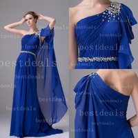 2015 Royal Blue Evening Dresses Sexy One- shoulder Crystal Ru...