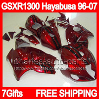 7gifts+ Tank For SUZUKI Hayabusa GSXR 1300 96- 07 dark red bla...