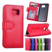 Pour bord Galaxy S6 / S6 PU cuir Wallet Case Cover téléphone avec support de carte d'identité Slorts Filp stand Photo Frame pour Samsung G9200