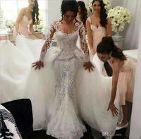 2016 полный шнурок ретро свадебные платья с отделяемым Тюль Overskirt Sheer длинными рукавами жемчуг вышивки Элегантный Gowns Стивен Халиль Люкс