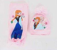 Pink Frozen Elsa Anna Baby Girls Kids Hat Scarves 2Piece=1Se...