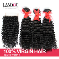 Brazilian Kinky Curly Virgin Hair With Closure 7A Grade Unpr...