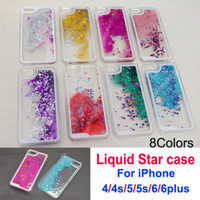 Блеск звезды Измельчитель Stars Liquid Дело Чехол для iPhone 4 / 4S 5 / 5S 6/6 плюс жесткий PC Clear Кристалл Дела сотовый телефон