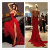 Red Sexy Spaghetti Strap Prom Dresses with High Split Side 2...