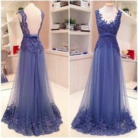 Backless Prom Dresses with Lace Applique 2015 V- Neck Real Im...