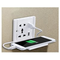 Wall Socket with 2 USB Interface Mobile Phone Holder, 80- 250...