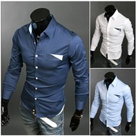 3colors Men Casual Shirts Man Dress Long Sleeve Shirt 100% C...