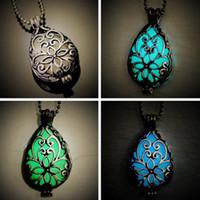 Ange collier pendentif Fashion fluorite Glow Shiny Lumineux Caller Teardrop Pendant Necklace Fit Titanium Colliers de chaîne d'acier 20pcs / lot