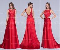 Designers Red Backless Evening Dresses 2015 Vintage Sheer Ba...