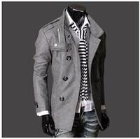 Casacos de malha de moda dos homens à moda, jaqueta de inverno, homens meados de-longa slim casaco duplo Breasted, Casacos de lã M-XXXL NOVO ARRIVER! Hight