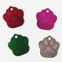 200pcs lot Aluminum Paw Footprint Dog ID Tags Blank Aluminum...