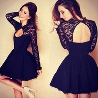 Hot Selling Long Sleeves Lace Short Tulle Homecoming Dresses...