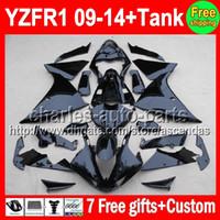 ALL Black 7gifts+ Tank For YAMAHA YZF- R1 09- 14 YZF R1 YZF1000...