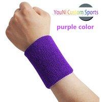 promotional adult size plain purple color polyester wristban...