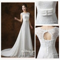 2015 New Arrival Lace Wedding Dresses A- line Illusion Open B...