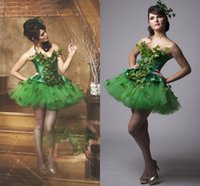 Green Short Prom Dresses With Leaves & Crystal A Line Sweeth...