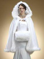 2015 новые зимние свадебные Плащи Wrap капюшоном Белая атласная Люкс мыс с меховой отделкой Идеальный пальто куртки Для Люкс Free Shipping