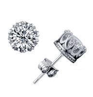 925 Sterling Silver CZ Diamond Crown stud earrings Fashion J...