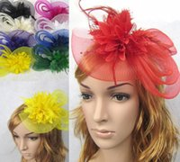 Lace Flower Feather hair accessories for bridal Hot Bridal w...