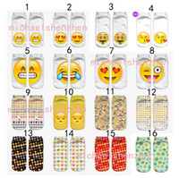 32 Design DHL 3D women men emoji short socks Children cotton...