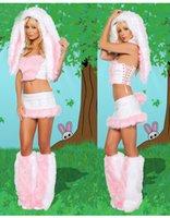 В штоке Furry Фашинг Cute Girl Белый Кролик Frisky Хэллоуин Косплей Костюм Outfit Fancy платье для женщин Sexy Хеллоуин костюм Полный комплект