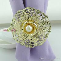 2015 New Fashion Gold Metal Lotus Flower Napkin Rings White ...