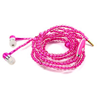 Diamond pearl chain 3. 5mm earphones with microphone diamond ...