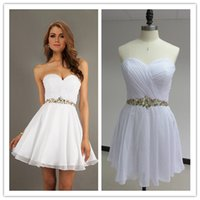 2015 White Cocktail Dresses with Crystal Rhinestone Sweethea...