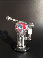 2015Free shipping! Bongs en verre colorés Tubes en verre d'eau avec des inliners ronds Bong en verre avec le perculator de pneu 14.5mm joint le dôme et le clou de verre