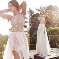 2015 Halter Lace Chiffon Evening Dresses Sexy Crystal Side S...