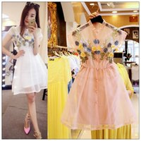 European Summer Youth Women Dresses Floral Embroidery Organz...