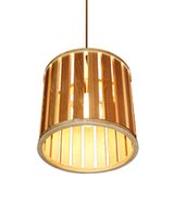 EMS Free Shipping E27 Pendant Light Drum Shaped Wooden Shade...