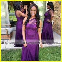 Purple One Shoulder Bridesmaid Dresses For 2015 Beach Garden...