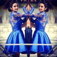 2015 Royal Blue Autumn Long Sleeves Homecoming Dresses Sheer...