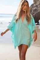 2015 Sexy Women Mint Linen Batwing Bikini Coverup Floral Cro...