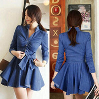 2015 Spring Fashion Women' s Denim Dress Slim Thin Blue ...