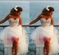 2014 Fall Pearls Sweetheart Hi Lo A Line Tulle Wedding Dress...