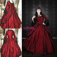 2015 Wine Red and Black Ball Prom Gowns Vintage Gothic Victo...