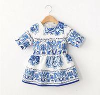 2015 Summer European Girls Dresses Half Sleeve Flora Print B...
