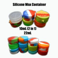 Vente en gros 10mL 22mL Wax Oil Containers Silicone Jars Dab 2 en 1 Wax Container Tin Dab Plastic Silicone Containers Pour Wax (50pcs + by DHL)