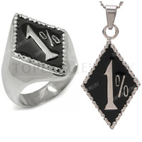Livraison gratuite! Acier inoxydable Outlaw Biker Ring and Pendant Set 1% ER One Percent Motocle Club RP200