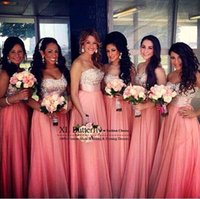 2016 Crystal Rhinestone Top Long Chiffon Bridesmaid Dresses ...
