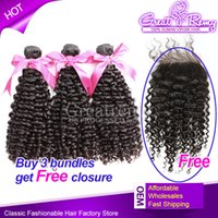 Hair Bundles With Closure Buy 3 Hair Wefts Get Free 1pc Curl...