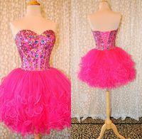 Замечательный Милая Кристалл Hot Pink Паффи Тюль бальное платье Короткое платье Homecoming Boned Красочные камни Коктейль / платье реальные изображения